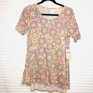 LulaRoe Perfect T Yellow Pink Floral Shirt